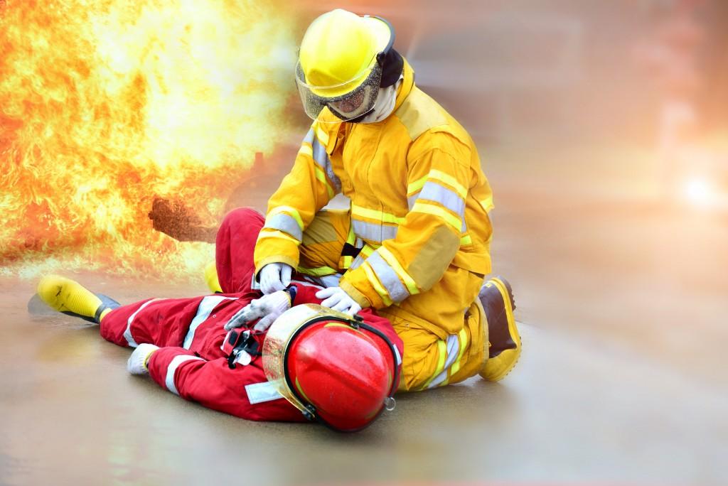 Fireman with Type O garment