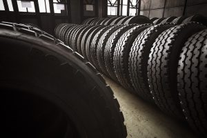 Tires in a warehouse