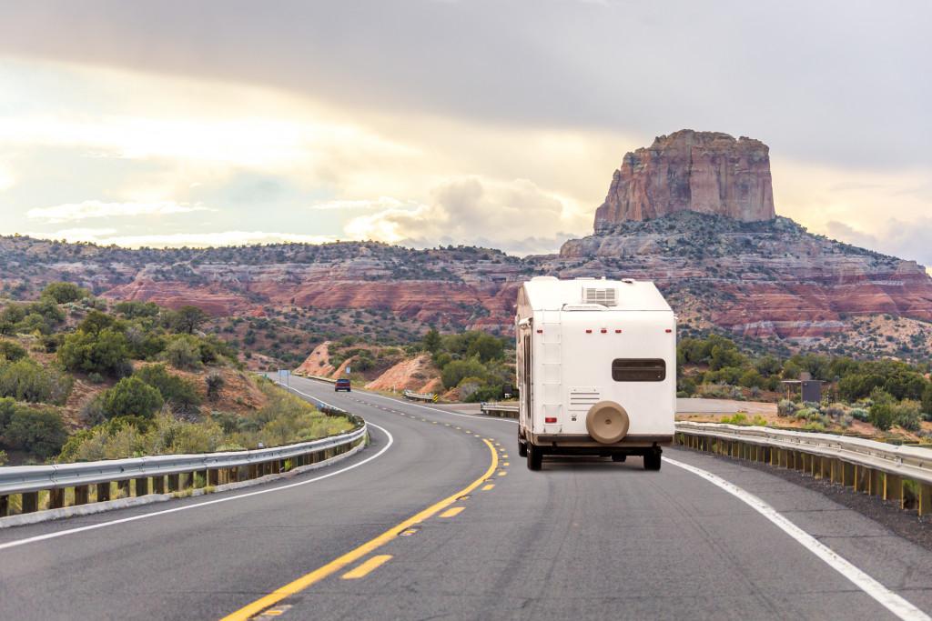 Camper trailer on Highway in USA