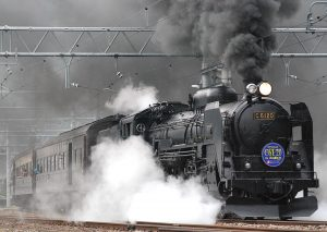 a train belching out smoke