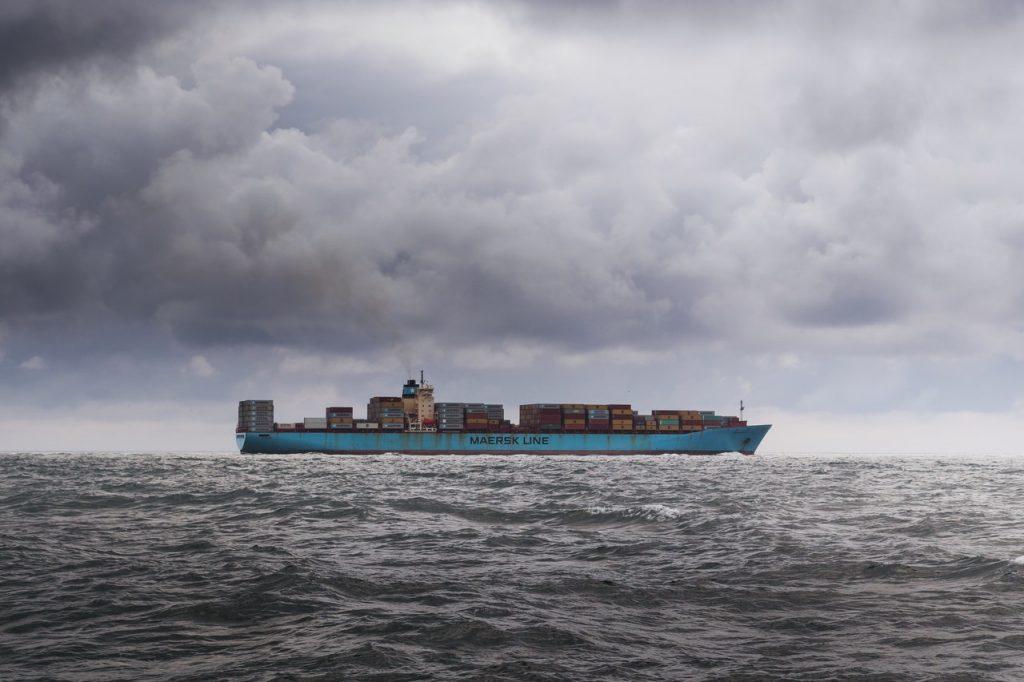 a cargo ship out at sea