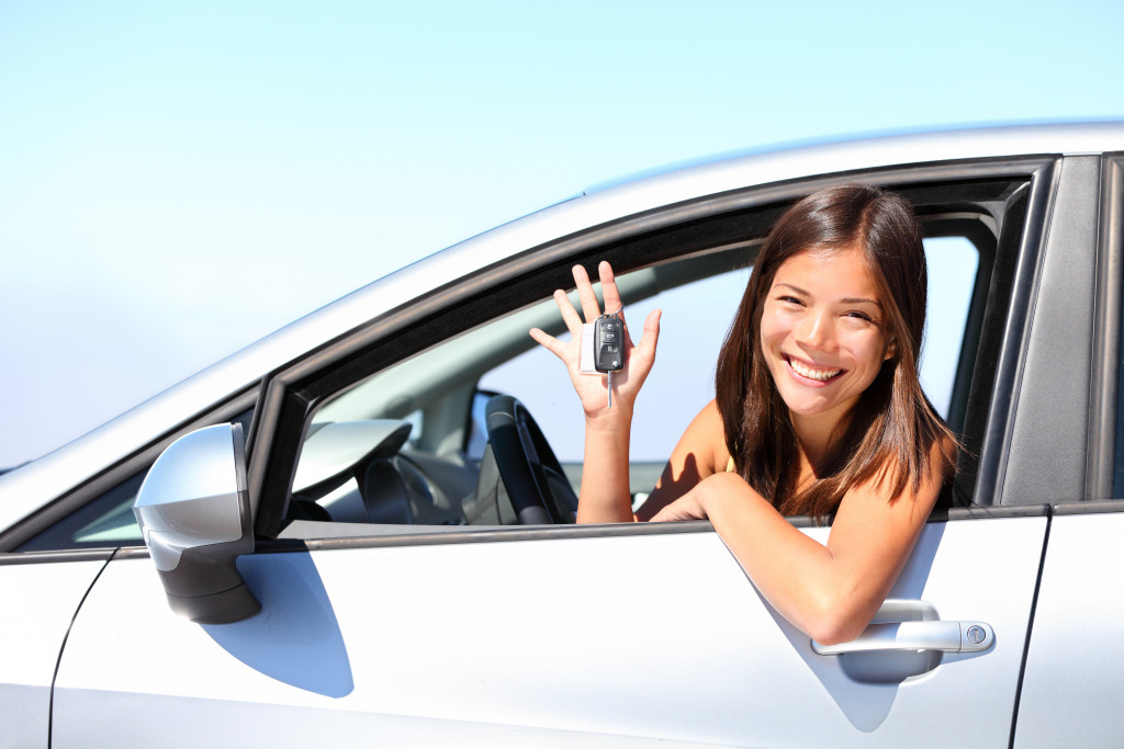 woman inside car