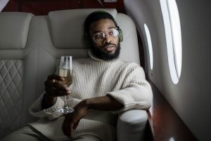 champagne on plane